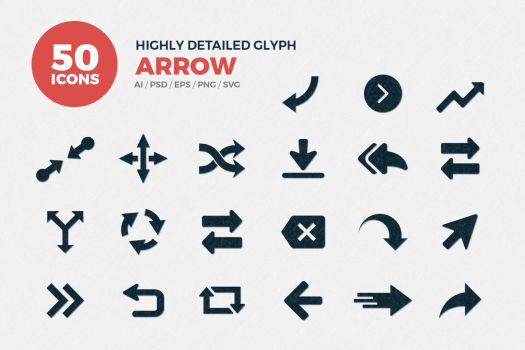 JI-Glyph Arrows Icons Set by jumboicons