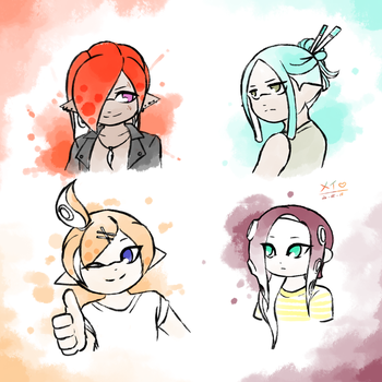 Dystopian Splatoon: Grizzco Boys (alt hairstyles) by MayJasmine