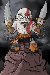 Kratos - Angry Spartan Warrior by happymonkeyshoes
