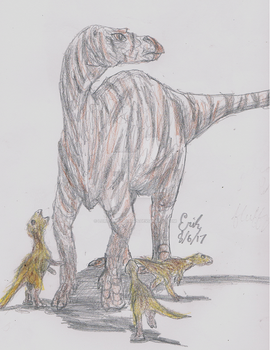 Maiasaura peeblesorum with Hatchlings by Velociraptor-King
