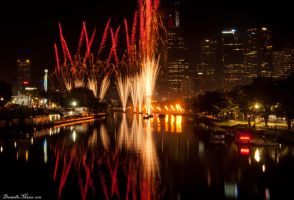 Moomba Fireworks Cityscape by daniellepowell82
