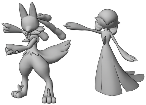 Lucario and Gardevoir - Faux Anime-Style 3D Models by MarkyMarktastic