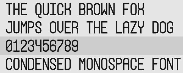 Condensed Monospace Font Preview by GreasyBacon
