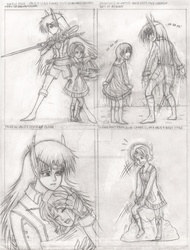 Sarah and Carrie Character Designs Valis 4 Version by SparkletteMachina