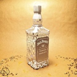 Paper Jack Daniel's Honey bottle Sculpture by nonitt