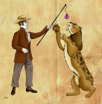 Wilhelm Lund and his Smilodon by Pelycosaur24