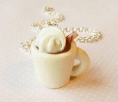 hot cocoa necklace -polymer clay by ScrumptiousDoodle