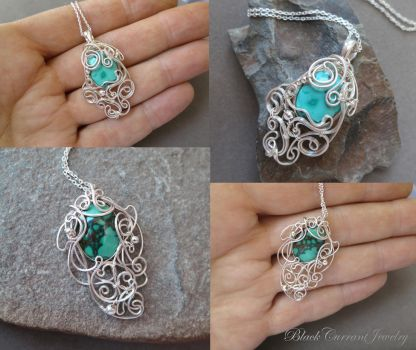Two Tiny Blue-Green Turquoise Pendants by blackcurrantjewelry