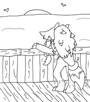 Sunset at Alomomola Bay -Lineart-