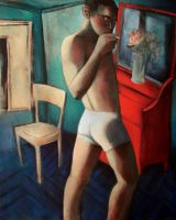 nude with cigarette by JuliuszLewandowski