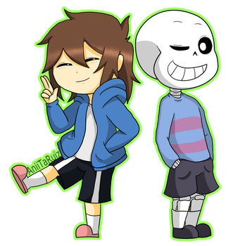 Frisk and Sans - change of clothes by AniiTaRuiz