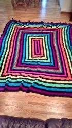 Commissioned King Sized Raver Rainbow Blanket by KittySib