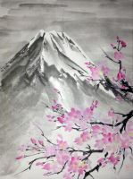 Sumie Fuji-san and sakura by bsshka