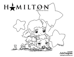 Hamilton and Laurens- Lineart by JadeDragonne