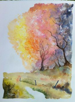 The effect of October by SteveHeggenAquarelle