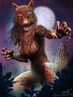 Werewolf Female concept by maugryph