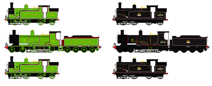 LSWR/BR Locomotive Survivors by GreyhoundProductions