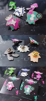 Splatoon 2 Enamel Pins by Aka-Shiro