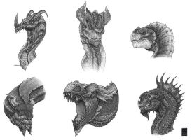 Dragon heads by Deepcore1