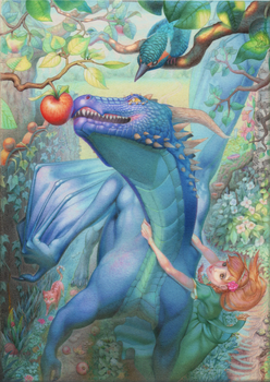 Dragon and apple: Process by Jahary