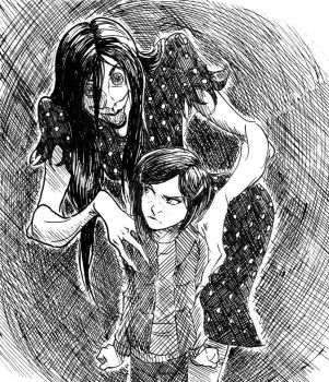 Inktober: Coraline and the Beldam by VanHeist