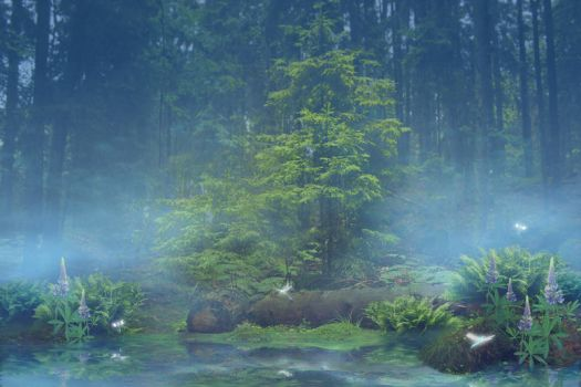 Blue forest pond by CAStock