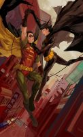 Robin and Batgirl by JenZee