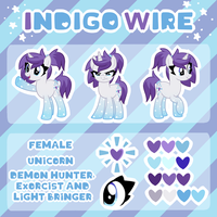 Indigo Wire - OC Reference Sheet by partylikeapegasister