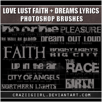 Love Lust Faith + Dreams lyric brushes by craziigiirl