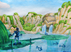 Artist's Tour of the Bionicle Universe: Naho Falls by FedoraStories