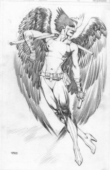 Hawkgirl pencil Pinup by RagsMorales