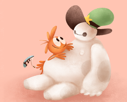 Wander and Baymax by robotoco