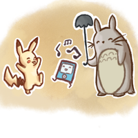 Totoro and Pikachu chilling for Mysteriosity by Sepent
