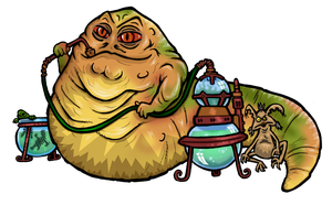 Jabba the Hutt and Salacious Crumb by janimutikainen
