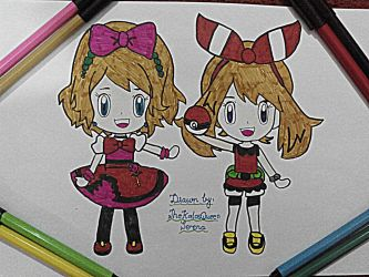 Chibi May and Serena~Hand Drawing-24 by TheKalosQueenSerena
