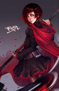 Red Ruby Rose by DreamerWhit