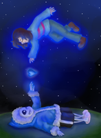Sans And Frisk by ShakeablePanda