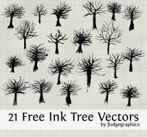 Ink Tree Vectors by fudgegraphics