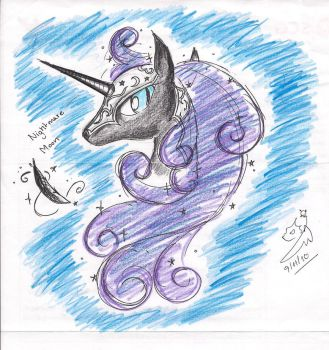 Nightmare Moon Scribble by Winged-Dragoness