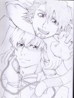 Tiger and Bunny in Wonderland - sketch by Kay-Jay97