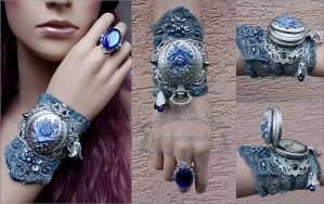 Russian winter cuff and ring set by Pinkabsinthe