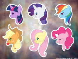 MLP Charms: Mane 6 by mell0w-m1nded