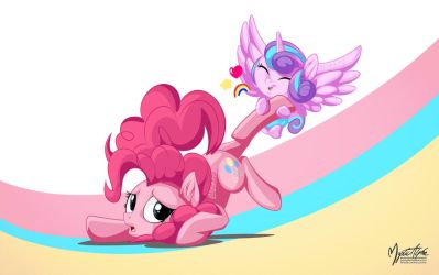 Flurry Heart Dragging Pinkie by mysticalpha