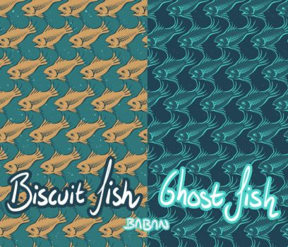 Biscuit Fish + Ghost Fish Pattern (prints) by BabaKinkin