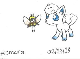 Ribombee and Vulpix