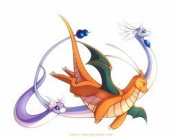 Dragonite Dragonair and Dratini