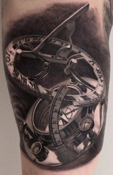 Realistic Compass Tattoo Black and White by Remistattoo