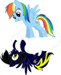 Req - Rainbow Dash and Shadow Thunder on a Cloud by RichHap