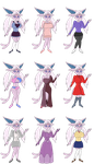 Angel Espeon's Outfits by redryan2009