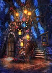 Little house in night forest by Poglazovs